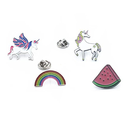 Pegasus Unicorn Rainbow Watermelon T-shirt Scarf Badge Brooch and Pin Set for Women Children(4Piece) Test