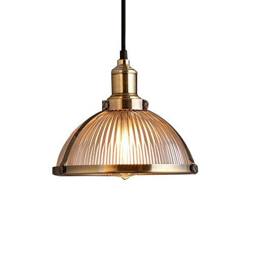 Glighone Lámpara de Techo Luz Vintage 40W Lámpara Industrial Luz Colgante de Pantalla de Metal Estilo Rústico Casquillo E27 No Incluye Bombilla para Decoración Interior, Color de Latón