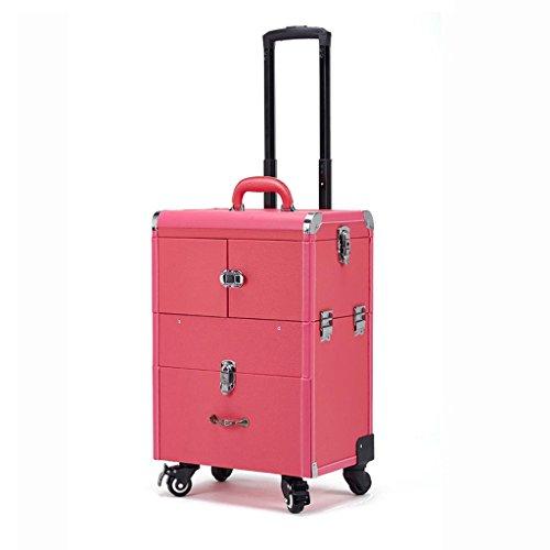 Dellt@ caso cosmetico del carrello a più strati di alta capacità, manicure del tatuaggio dei saloni di bellezza della lega di alluminio con la scatola di trucco, cassa di trucco di rotolamento, rosa rossa