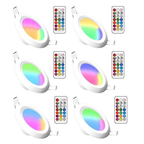 RGBW LED Einbauleuchten Dimmbar Rundes Panel Verborgen Led Farbwechsel Deckenleuchte mit integriertem LED-Treiber und Fernbedienung für Wohnzimmer, Schlafzimmer, Küche, Bad (6Pack, RGB Cool White, 5W)