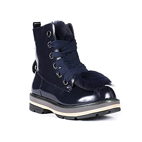Ideal Shoes - Bottines montantes avec languette fourrée Lenny Marine 38