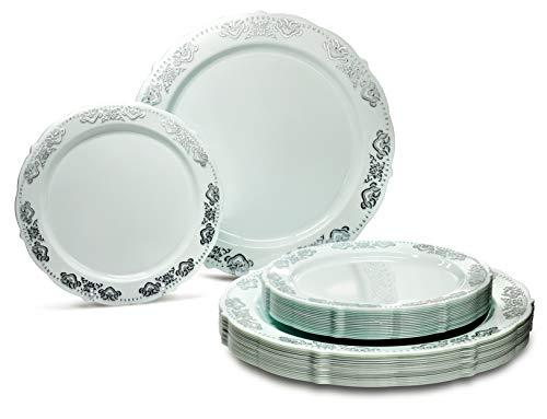 Occasions Packung mit 50 Stück Vintage-Party, Premium-Einweg-Kunststoff-Platten (25 Abendessen + 25 Salatteller), Portofino, mintgrün/Silber