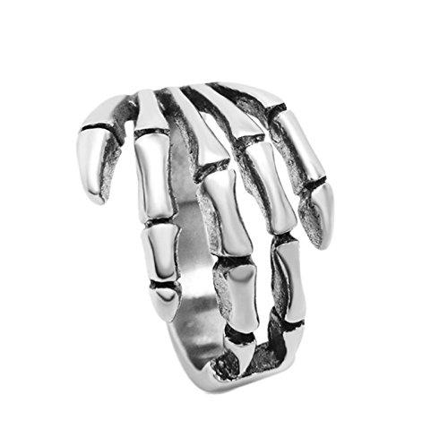 Amody Schmuck Edelstahl Biker Ringe 16MM Großer Schädel Claw Fingers Rigns Retro Silber Ringe größe 65 (20.7) (Paare Batman Für Ringe)