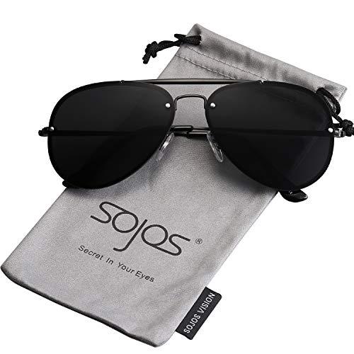 SOJOS Sonnenbrille Herren Damen Aviators Metall Verspiegelte SJ1105 mit Schwarz Rahmen/Grau Linse