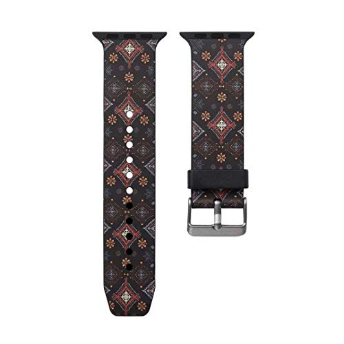 Angeland Geometrisches Design Plaid Argyle Zickzack Muster Silikon Ersatzband für Apple Watch Serie 4 3 2 1, 40 & 38 mm, Coffee Argyle Apple