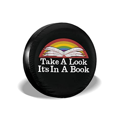Vbnbvn Reserveradabdeckung, Take A Look It's in A Book Retro Rainbow Reading Book Universal Fit Spare Tire Cover Waterproof Keeps Dirt Rain and Sun Away from Your Spare Tire