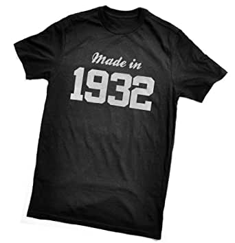 Made in 1932 T-Shirt - fun birthday gift - wrapping and gift message service available - black - all sizes (ladies size 8)