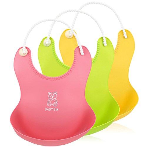 Itaar 3 Pezzi di Bavaglini Impermeabili e Regolabili per Bambini in Silicone Food Grade Morbidi Tasca Profonda (rosa,giallo,verde)