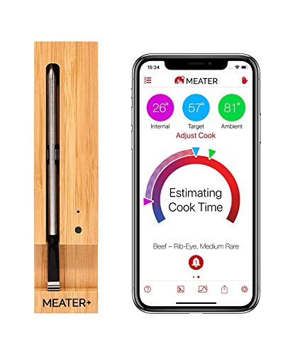 MEATER+ | Neues MEATER Plus 50m Lange Reichweite Kabelloses Fleisch-Thermometer fuer Ofen Grill Küche BBQ Smoker Rotisserie mit Bluetooth und WiFi Digital Connectivity -