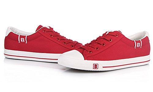 Aisun Damen Klassich Canvas Low Top Schnürsenkel Sneakers Rot