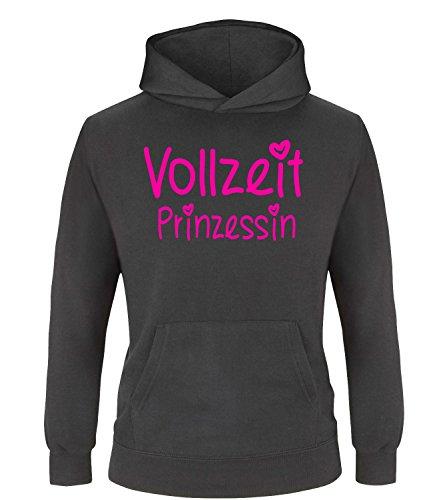 Luckja Vollzeit Prinzessin Kinder Hoodie Kapuzenpullover Schwarz-Neonpink Grösse 122/128