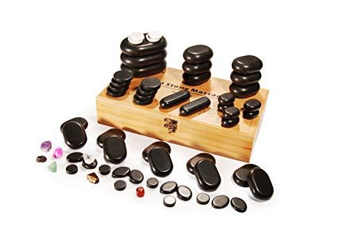 Master Massage 60 Stück Hot Stone Set Massagesteine Massage Luxus mit 7 Chakra in dekorativer Bambuskiste America Brand