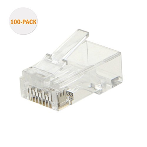 CableCreation Cat6 RJ45 Stecker 100-PACK Cat6 Steckverbinder, Cat6a / Cat5e RJ45-Steckverbinder, Ethernet-Kabel Crimp-Steckverbinder UTP-Netzstecker für Volldraht und Standardkabel, Transparent -