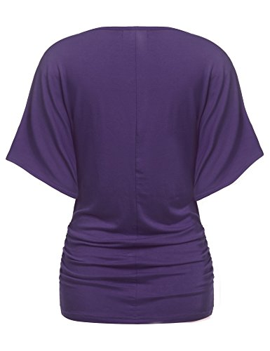 Zeagoo Damen V-Ausschnitt T-shirt Kurzarm Batwing Fledermaus Sommer Shirt Tunika Bluse Lila