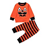 OdeJoy Neugeborenes Baby Langeärmel Halloween Kürbis Ausdruck Gestreift Drucken Tshirt Oberteile + Hose Einstellen Kleider O Ausschnitt Baumwolle Karikatur Top + Pants (Orange,80)