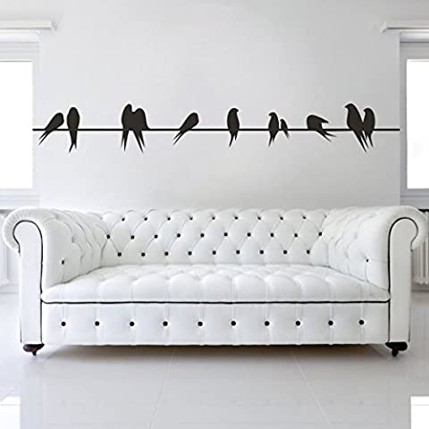 """Home Decor moderne Sticker mural Oiseaux sur un fil en vinyle famille Salon Art Sticker, Vinyle, marron foncé, 5""""h x34""""w"""