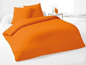 Soleil d'Ocre Parure housse de couette réversible unie Orange 240x220 cm