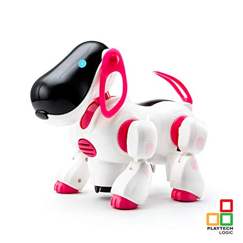 Playtech Logic X36-2008P Electronic Puppy Robot Dog Light Up Girls Boys Toys with Sound for Kids, Pet Nodding Barking and Walking Dog Toy with Bump and Go Function, Pink