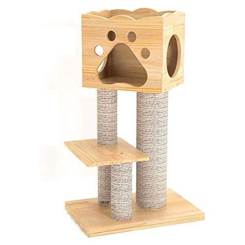 Hammer Arbre à Chat, balancelle et Cuddle Cave, Les Messages épais complètement Enveloppé dans Sisal Gris Clair, Meubles Chat Nest Arbre à Chat Sisal