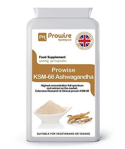 Prowise KSM-66 Ashwagandha 500mg 90 Kapseln | Zertifizierte Ashwagandha KSM-66 100% natürliche Ergänzung | UK Made Ayurveda Formel