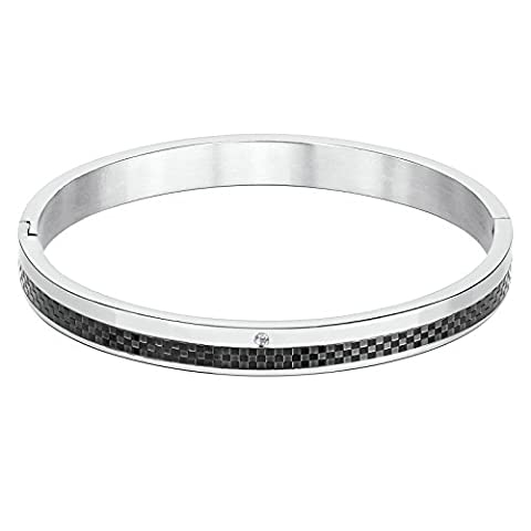 KnSam Stainless Steel Cuff Bracelets for Mens Two Row Checked Lines and Round Cubic Zirconia Black Silver
