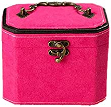 Portátil de bolsillo rectangular rectángulo flocado joyería reloj caja de almacenamiento con espejo 2 capas armario decorativo