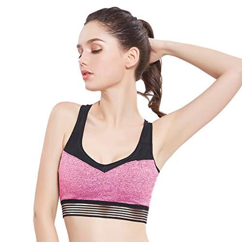 Push Up Frauen Teens ärmellose Yoga Gepolsterte BHS Outdoor Patchwork Tops Sportbekleidung Weste Unterwäsche ()