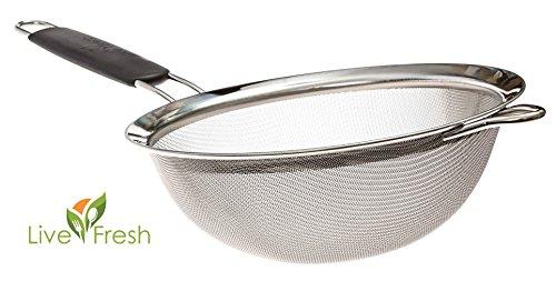 Erstklassiger engmaschiger Seiher aus Edelstahl von LiveFresh - 19,5 CM - Seihen & sieben Sie Quinoa, Reis, Mehl, Nudeln und vieles mehr mit dem stärksten und zuverlässigsten großen Sieb, das erhältlich ist