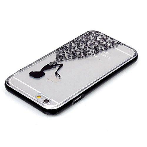 MOONCASE iPhone 6S Coque, IMD Gel Souple TPU Case Fleur Motif Cover pour iPhone 6 / 6S (4.7 inch) Transparente Housse Antidérapant en Silicone Avec Absorption de Chocs [Feather Pattern] Butterflies