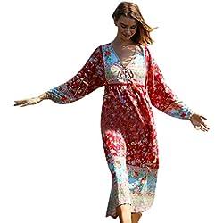 Daysing Robe Pull Femme, Robe Maxi ImpriméE à Manches Courtes Et Col en V pour Femmes ÉTé Nouveau Style De Plage Sexy Confort LâChe