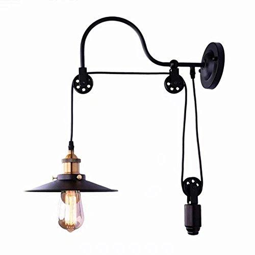 Justierbares Halogen-licht (Hines Industrielle Weinlese-Aufzugs-Wand-Licht-justierbare Flaschenzug-Rad-Wand-Lampen-Art-Schwanenhals-Retro- Wand-Lampen-Stangen-Scheunen-Küchen-Lager-E27 Dekoration-Beleuchtungs-Befestigung)