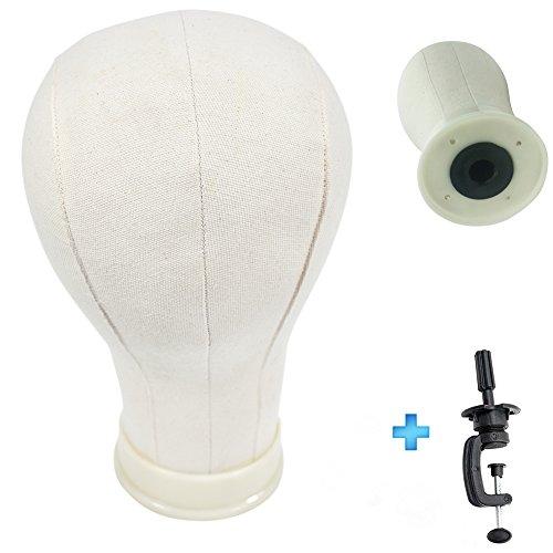 Cabeza de corcho de 55,88 cm para crear, secar, peinar o teñir pelucas, incluye abrazadera