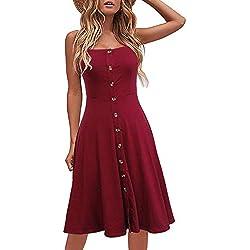 Vestimenta Casual de Playa para Mujer Vestidos de Verano de algodón sólido Adaptable A-Line Correa de Espagueti con Botones Abajo Rojo S