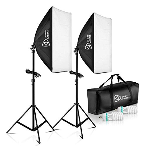 PHOTO MASTER Softbox Focos Kit Iluminacion Fotografia con 2 Ventana de Luz 135W, 2 Softbox 50x70cm, 2 Tripodes Luz Continua para Estudio Fotográfico Profesional