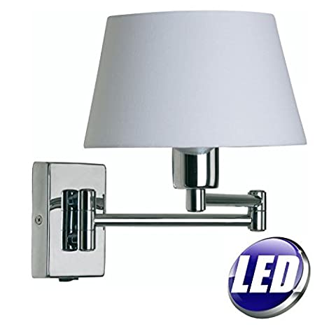 OAKS LED POLISHED CHROME ADJUSTABLE DOUBLE SWING ARM SWITCHED WALL LIGHT WITH WHITE 8