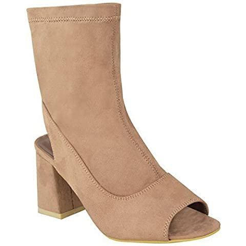 New Womens Ladies Mid Low Block Heel Ankle Boots Peep