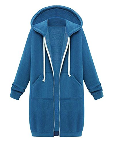 Femme Hoodies Sweatshirt avec Capuche Chaude Casual Veste Sweats Cardigan Longue Manteau