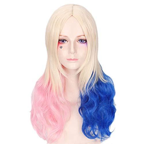 Aiyl parrucca,ondulata lunga blu e rosa,parrucca, cosplay halloween, per donna per costume di halloween carnevale mascherata natale festa,pinkblue