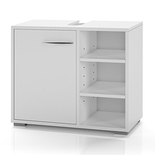 Waschtischunterschrank Waschbeckenunterschrank 60cm Unterschrank Bad Möbel Badschrank Siphonausschnitt weiß
