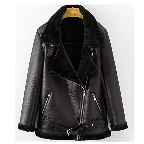 Newbestyle Jacke Damen Übergangsjacken V Ausschnitt Kleidung Mantel Fell Winterjacke Jacket Wintermantel Top Coat mit Schrägem Reißverschluss (M, Schwarz) -