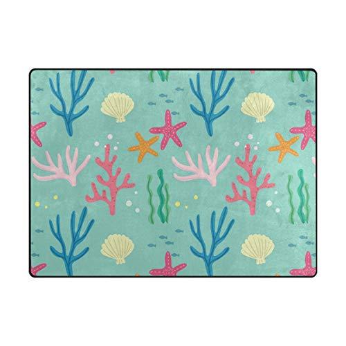 FCZ Area Rug Fußmatte für drinnen und draußen, rutschfest, 15,2 x 10,2 cm, Rosa/Blau/Koralle, Polyester, Multi, 5.25'x4' -