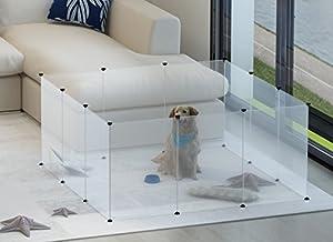 Tespo Parc à chien, portable, grande Plastique Yard Clôture pour petits animaux, PopUp Niche Caisse Clôture Tente, Blanc transparent 12Panneaux