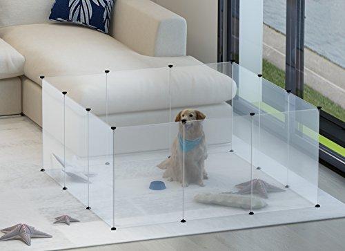 tespo perro parque de juegos, portátil grande de plástico PATIO valla para pequeños animales, emergente de la perrera jaula valla para tienda de campaña, color blanco transparente 12paneles