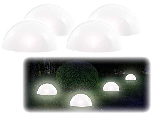 Lunartec Solarkugeln: Solar-Leuchthalbkugel mit weißen LEDs, 4er-Set (Solar Kugelleuchte)