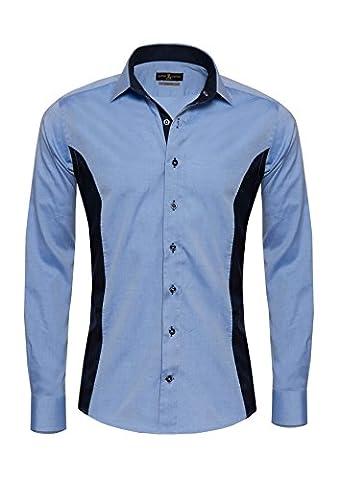 Giorgio Capone Herrenhemd, 100% Baumwolle, blau und dunkelblau, Langarm, Slim & Regular Fit (XL (Easy Care Leinenhemd)