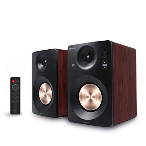 HAISER HSR 120 BT PRO | 60 Watt RMS Aktiv Studio-Lautsprecher Paar mit • Bluetooth • NFC • USB • Boxen • Neodym | Aktiv-Lautsprecher-System Regal-Lautsprecher PC-Lautsprecher mit Fernbedienung