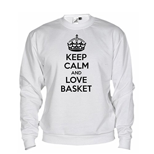 Bikerella felpa unisex keep calm and love basket by bianco/nero s