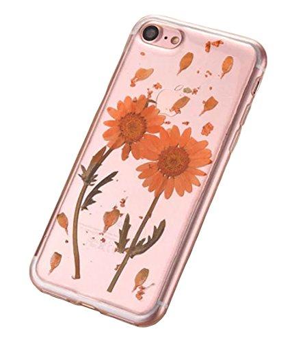 iPhone 7 Klar Handycover, Aeeque iPhone 7 Handgefertigt Echt Blume Schutzhülle, 3D Handmade Elegant Mädchen Blumen-Serie Design Klar Durchsichtig Flexibel Silikon Zurück Bumper Case Cover für iPhone 7 Blumen #13