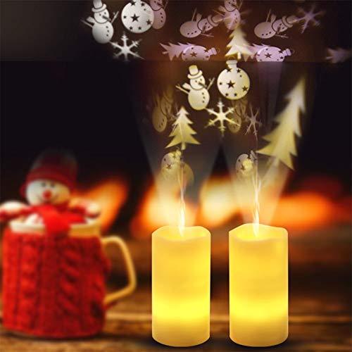 elegantstunning Projektorlampe LED Romantische Nachtlicht Simulieren Weihnachtskerze Rotierende mit Fernbedienung
