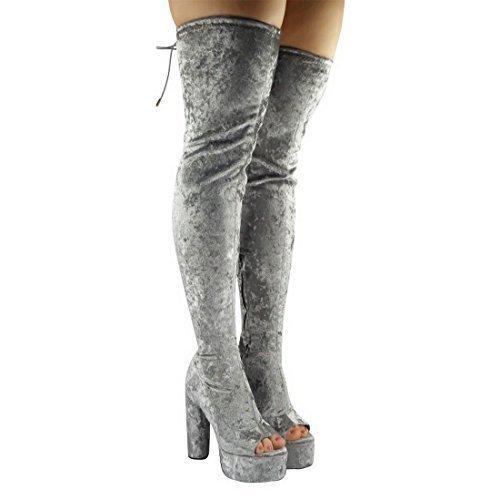 Damen Plateau Blockabsatz Überknie Oberschenkel hoch Zeh Ausschnitt Stiefel Schuhe Größe - Grau Pannesamt, 7 UK